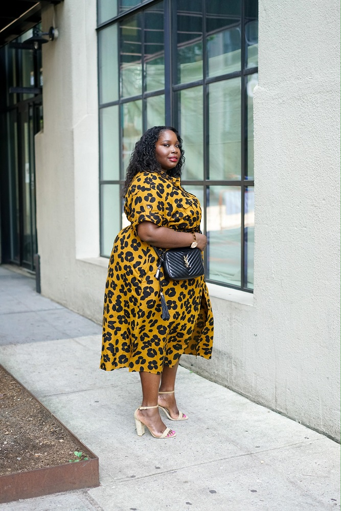 plus size woman in a who what wear collection leopard print dress