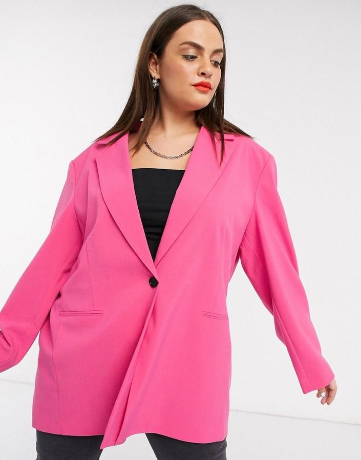 pink oversized blazer in plus size
