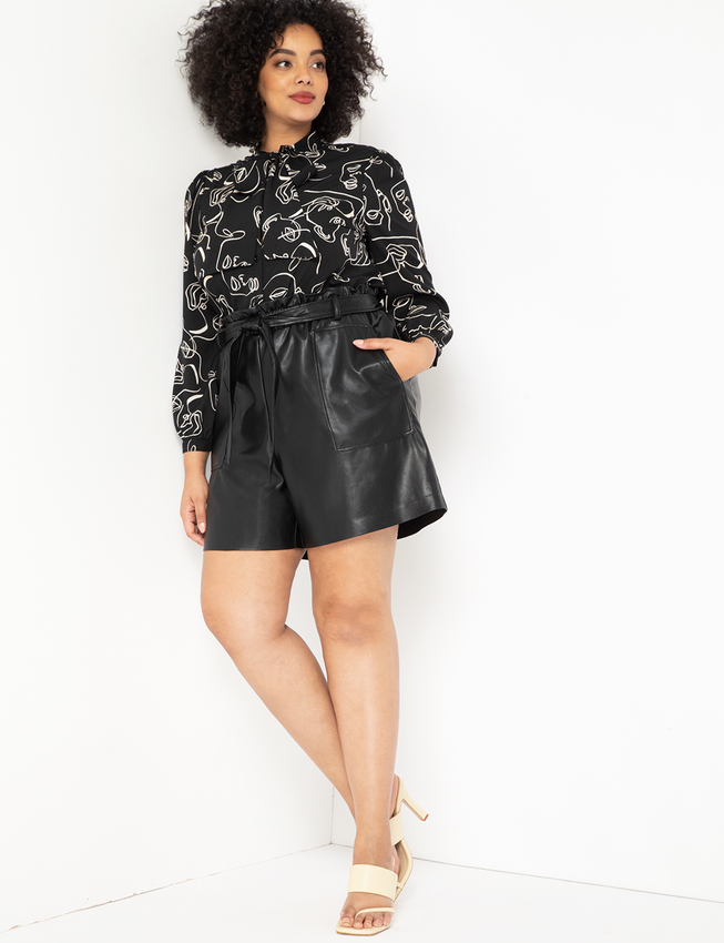 plus size leather shorts from eloquii