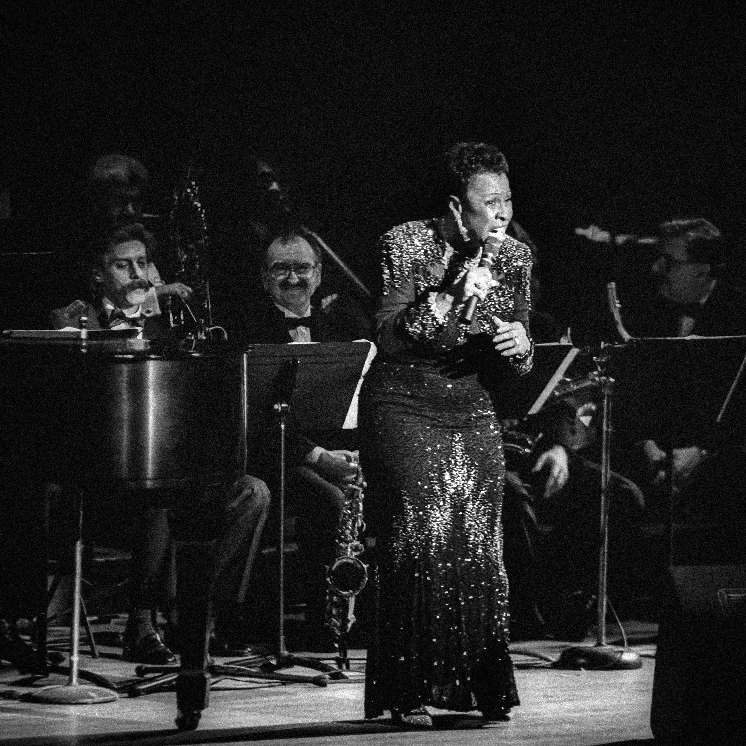 American jazz vocalist Betty Carter (born Lillie Mae Jones, 1929-1998) performs at her Jazz at Lincoln Center 'Big Band With Strings--The Music Never Stops' concert at Alice Tully Hall at Lincoln Center, New York, New York, Saturday, March 28, 1992. CREDIT: Photograph © 1992 Jack Vartoogian/FrontRowPhotos. ALL RIGHTS RESERVED.