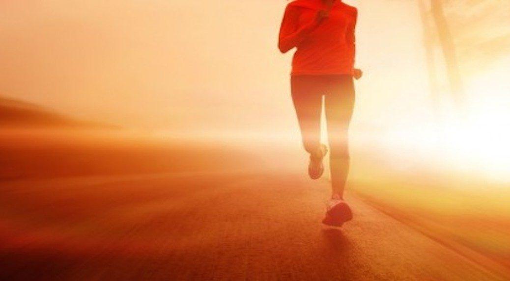 woman jogs moving forward