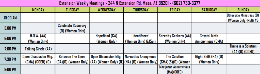 AA 12 Step Meeting Schedule - Crossroads for Women at Extension