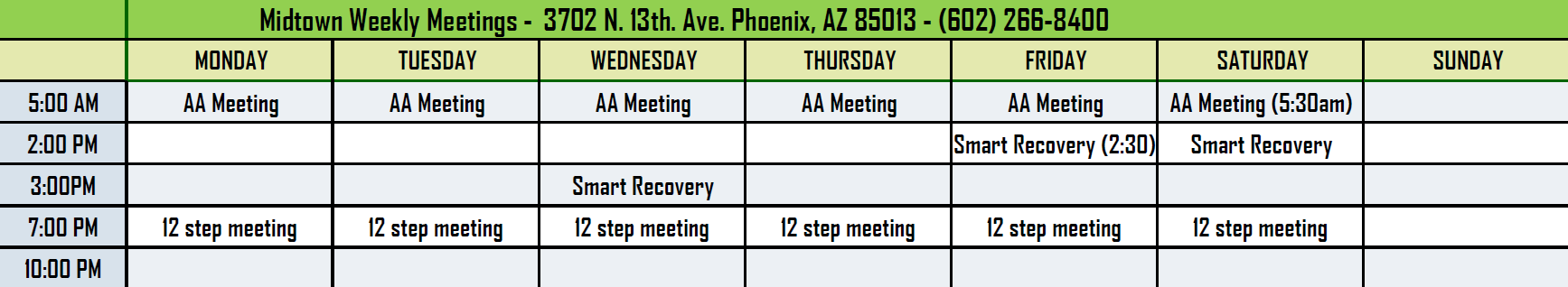 AA 12 Step Meeting Schedule Crossroads Midtown
