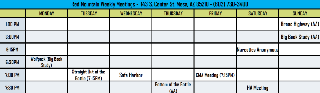 Red Mountain Center Crossroads 12 Step AA Meeting Schedule