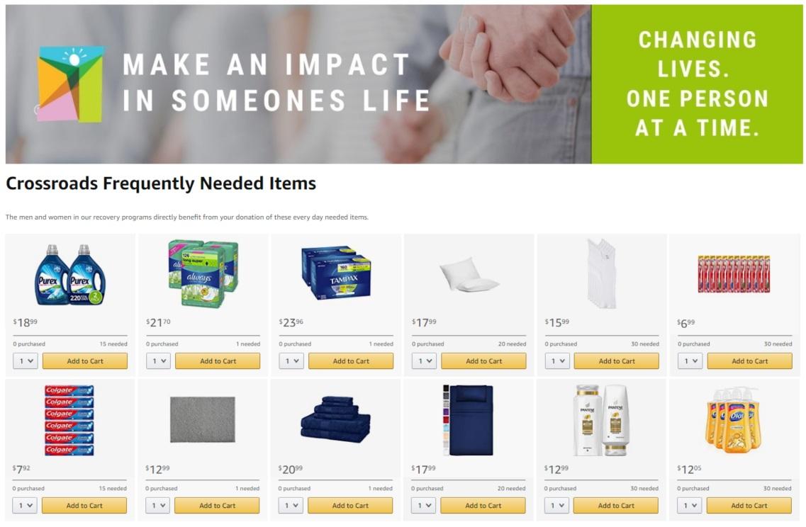 Crossroads' New Amazon Charity Wishlist