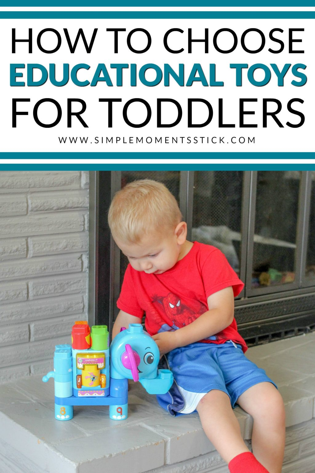 Toddler boy playing with LeapBuilders Elephant with text overlay - How to Choose Educational Toys for Toddlers