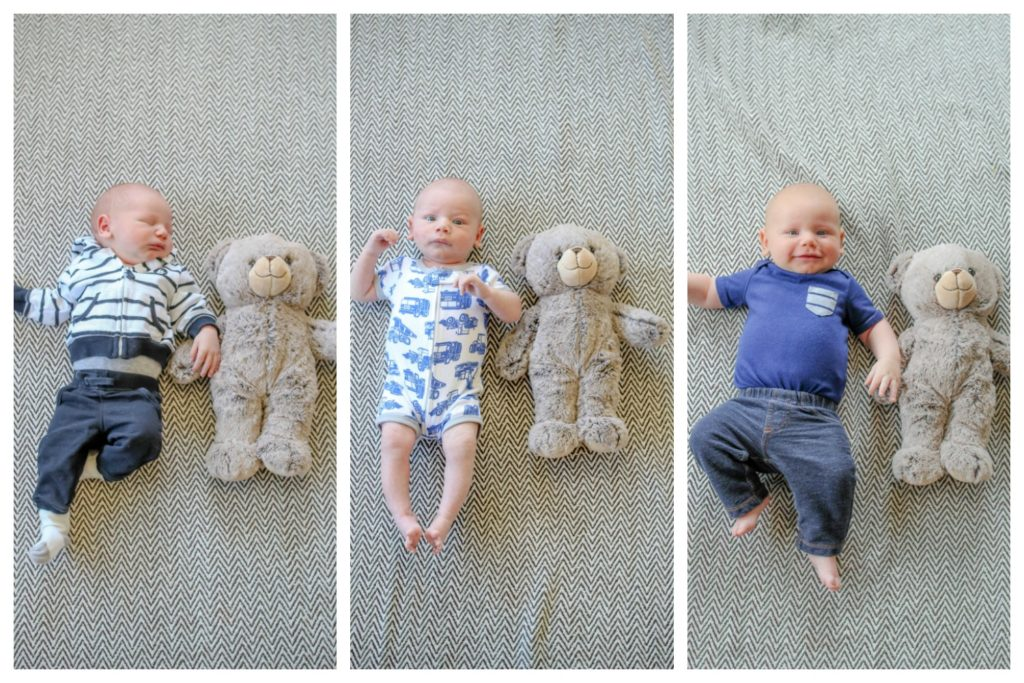 Collage of three pictures of baby boy laying next to a teddy bear. Baby is a month older in each picture