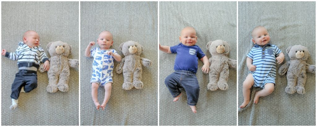 Collage of a baby gradually getting bigger, laying next to a teddy bear.