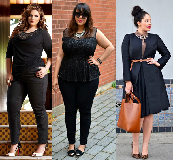 plus size usando monocromatico total black