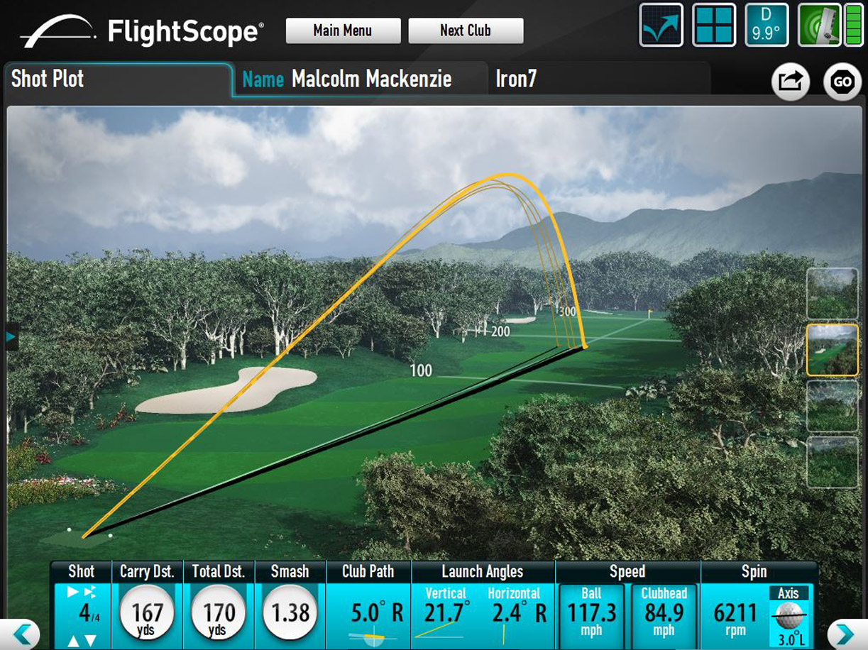 Flightscope Shot Data and Trajectory Output