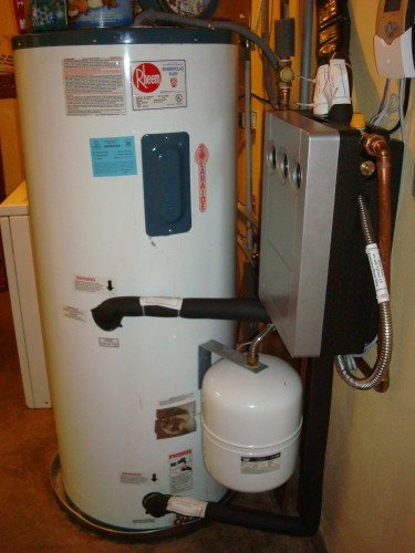 Hot water tank attached to solar thermal system