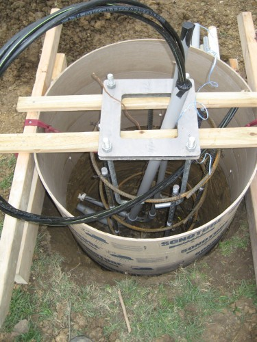 Tube with wires and conduit installed
