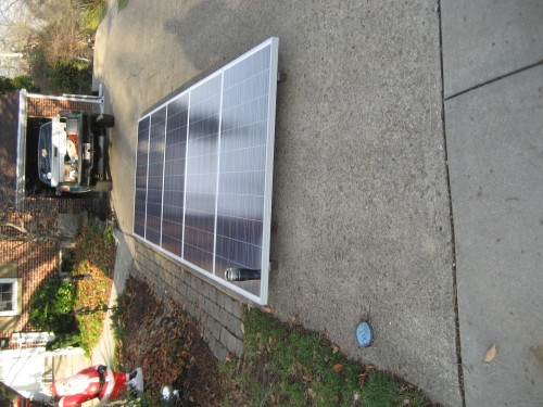 Solar Array with panels in the driveway