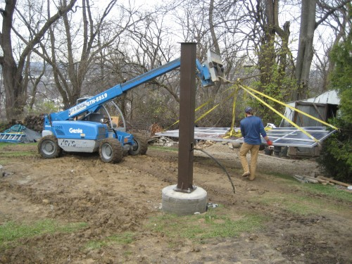 Installing the array on top of the pole