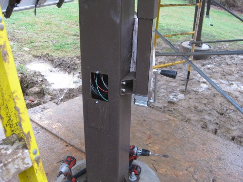 Bottom of the pole with the wires