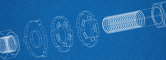 cad blueprint of a bolt, washer, and nut