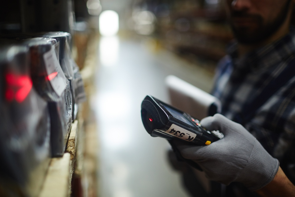 scanning barcodes in a customer's warehouse