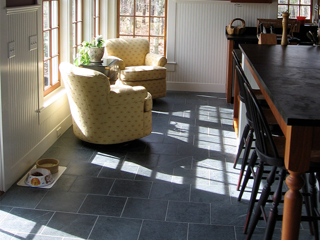 A floor laid with Vermont Soapstone tiles is both beautiful and functional.