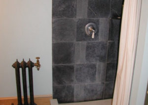Vermont Soapstone tiles in the shower