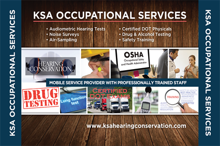 OSHA Compliant Audiometric Hearing Tests – Respiratory FIT Testing – NIOSH Pulmonary Function Testing – OSHA Respirator Medical Evaluation Questionnaire – Noise Surveys – Air Sampling – Certified DOT Physicals – Crane Certification Physicals – Drug & Alcohol Testing – Safety Training
