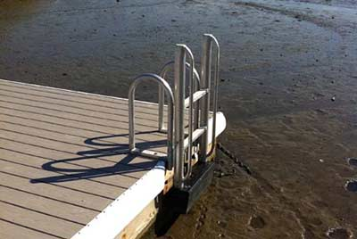 FloatStep custom ladder attached to composite dock