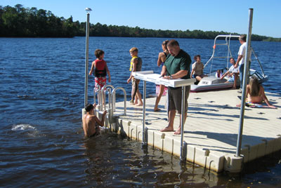 fish cleaning station in action on an EZ Dock swim / fishing platform
