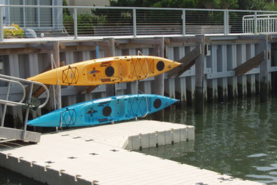 free standing kayak rack attached to EZ Docks