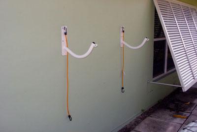 empty kayak rack - wall mount version