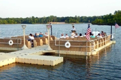 Commercial application - boaters church with accessories - life rings, railings solar lights and dock ladders