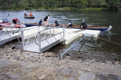 Education application - rowing -  stiff arm anchoring system, one of many offered by EZ Dock