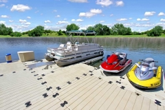 a larger dock configuration allow multiple watercrafts to dock.