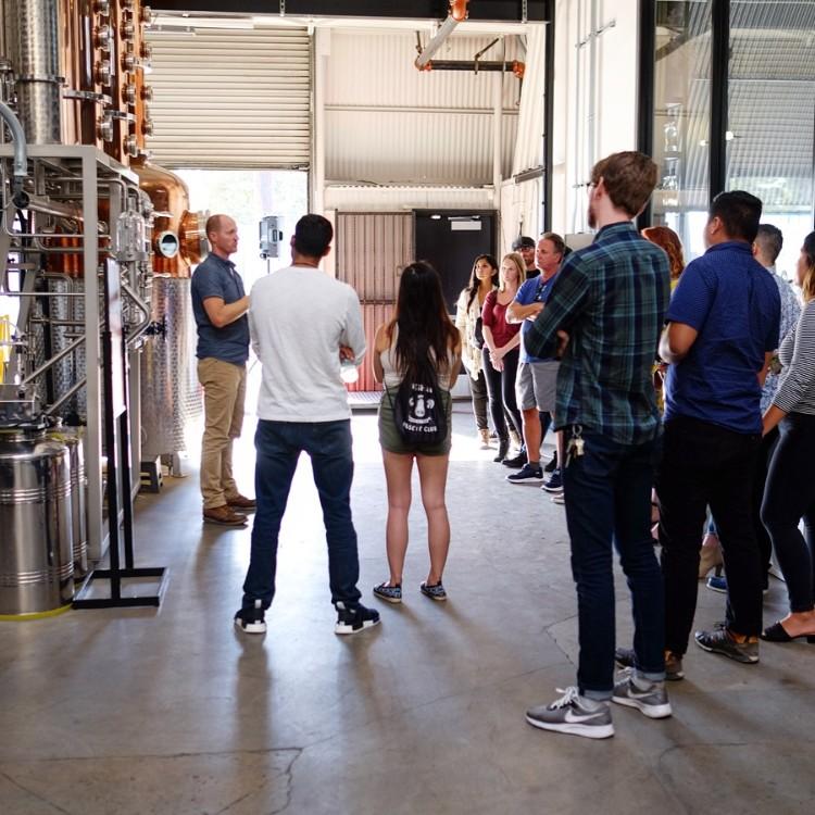 People on distillery tour