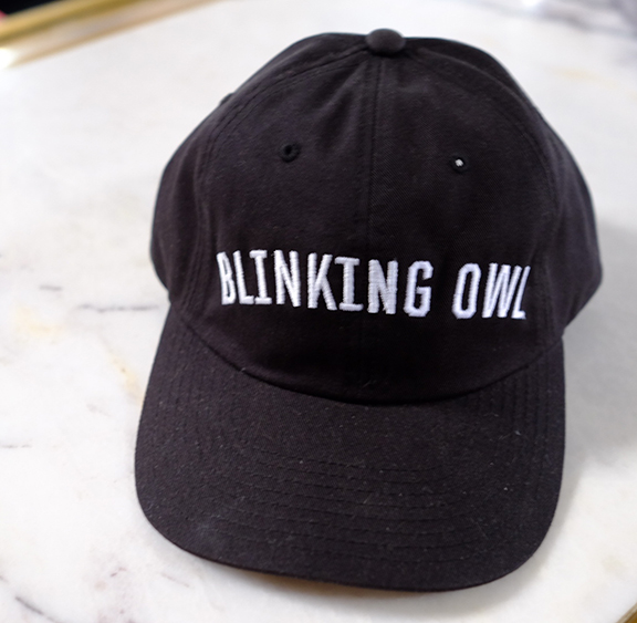 Blinking Owl Block Lettering hat in black
