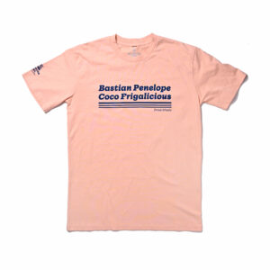 Bastian Penelope Coco Frigalicious t-shirt color Salmon with Navy Text