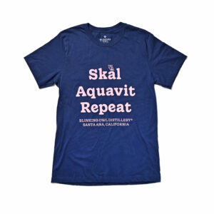 Skal, Aquavit, Repeat t-shirt color Blue with pink text