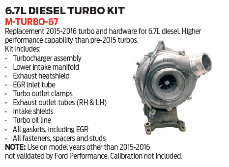 Turbo upgrade for 2015-2016 6.7L Powerstroke engines.