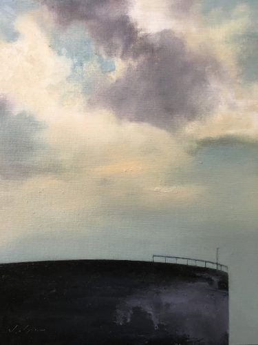 Landscape with Oil Tank (Lowell Skyscape series), 14x11