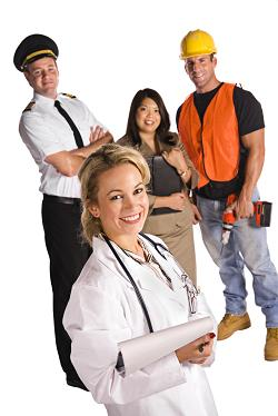 Doctor with workers