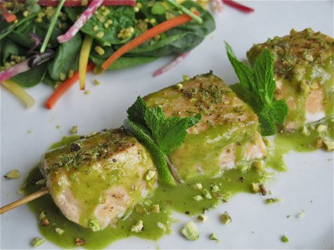 Spring Salmon Brochette Salad with Minted Lime Dressing, Toasted Quinoa and Pistachios