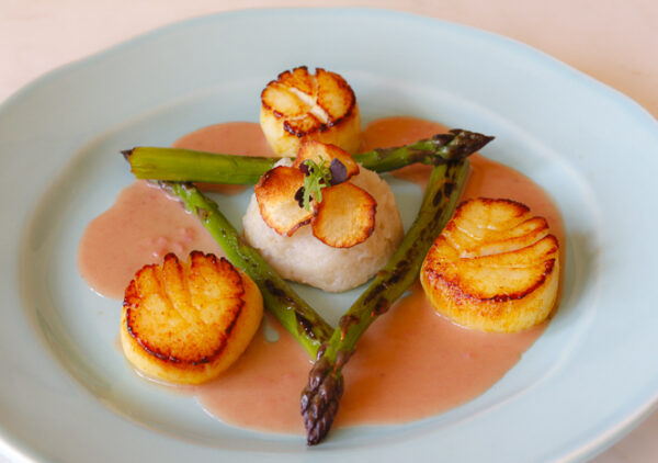 Scallops with Home Made Rhubarb Vinegar Butter Sauce
