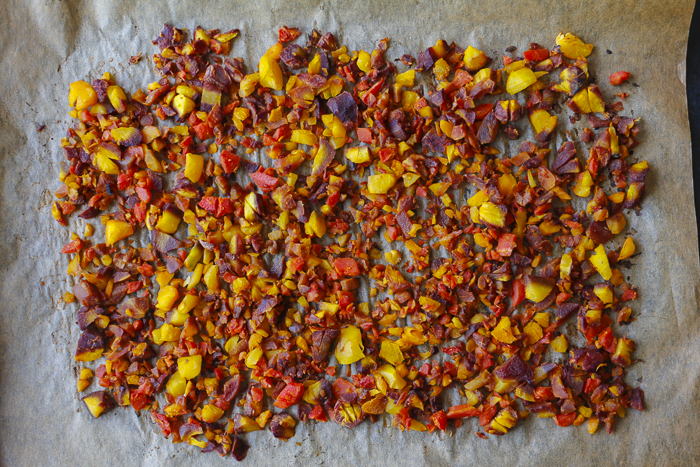 Chopped rainbow carrots roasted and ready to fold into the hummus