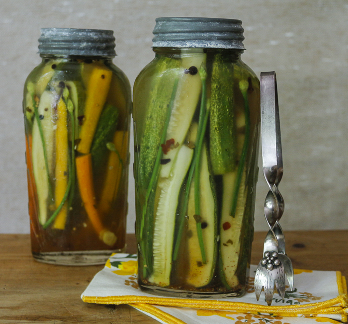 The perfect pickle,  slightly sweet and spicy - add ginger and garlic chives for an Asian flair (can add multi-colored carrots too!)