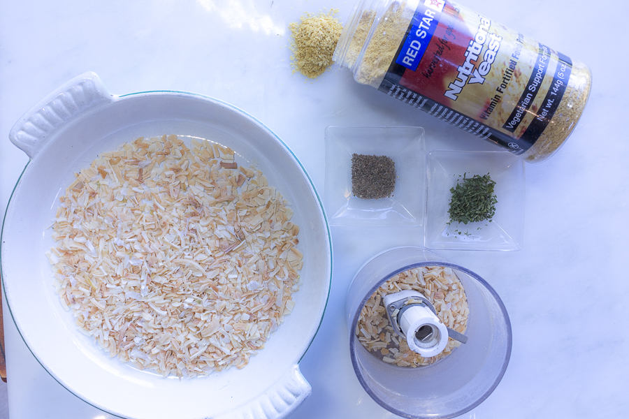 The flavorings: toasted dehydrated onion, celery seed, parsley and nutritional yeast