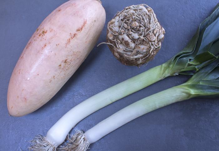 Squash, Celeriac and Leeks provide the base of the soup
