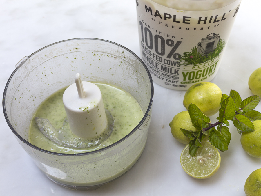 For some natural green color, blend some mint and basil leaves with the yogurt mixture