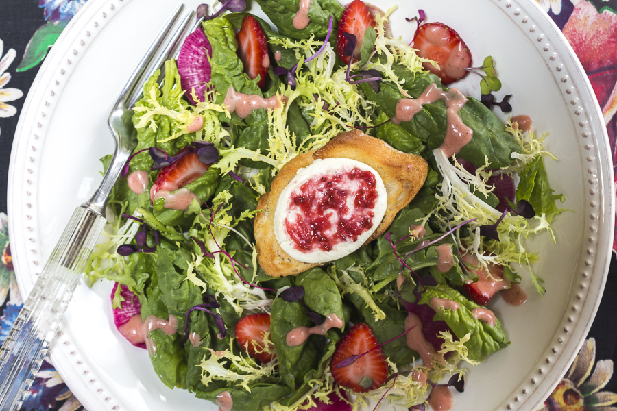 Spinach & Frisee Salad with French Baguette topped with Goat Cheese and Strawberry Swirl