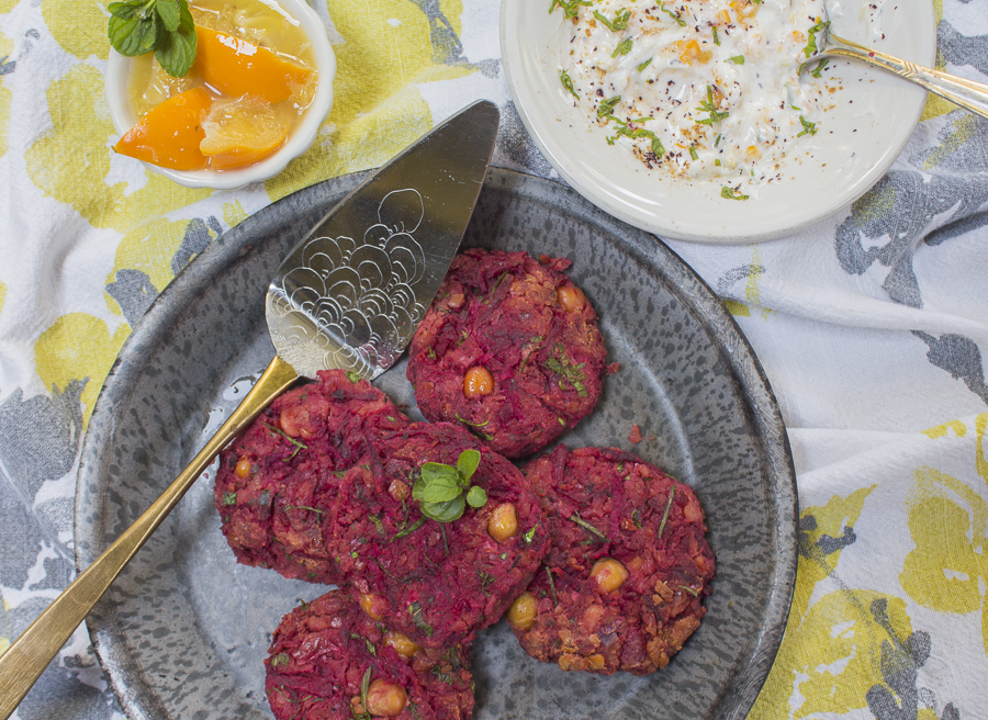 Beet and Chickpea Cakes with Mint and Lemon Zest