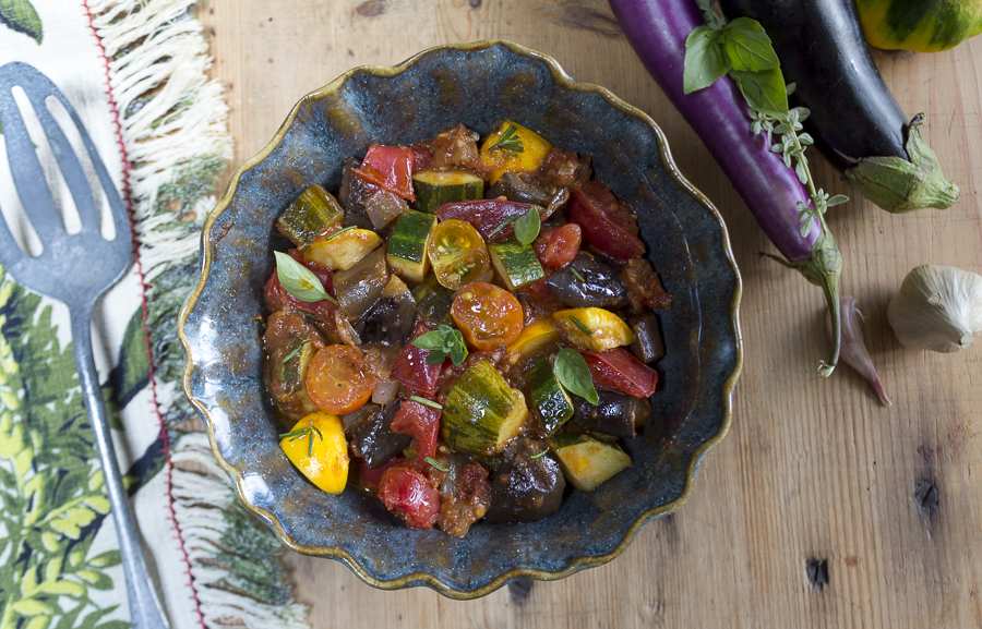 A Summer stovetop stew with local eggplant, zucchini, heirloom tomatoes, shallots, garlic and herbs