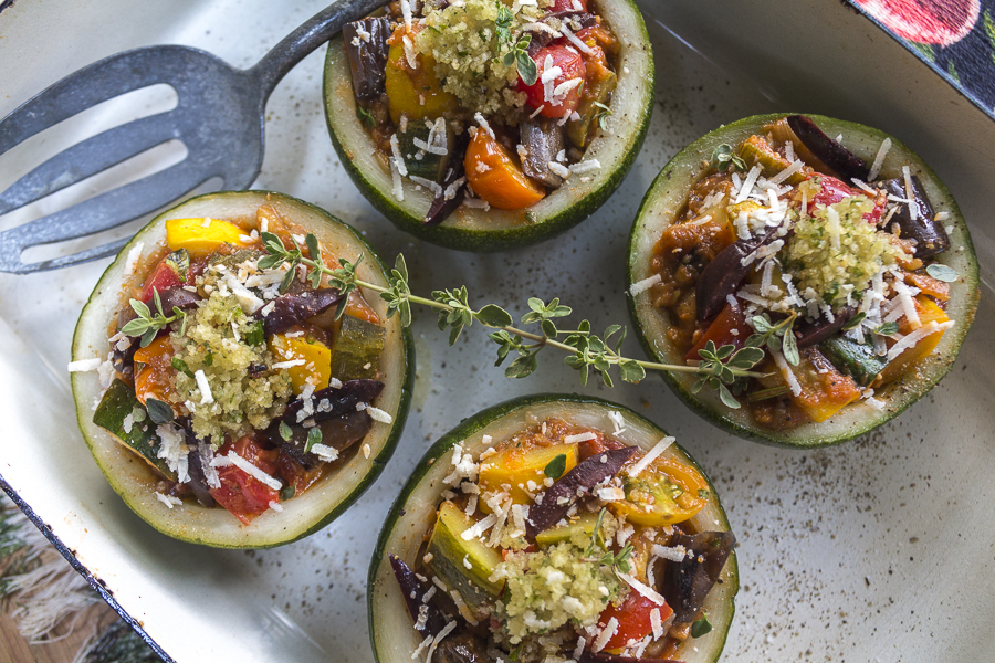 Ratatouille in Zucchini Cups with Herbal – Garlicky Crumbs