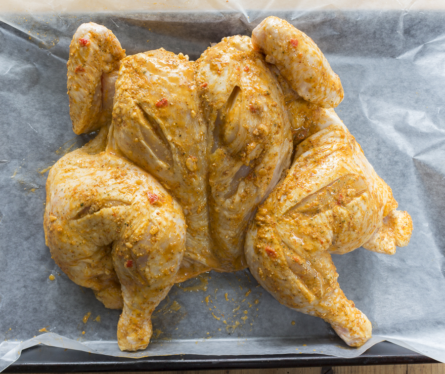 Marinade the chicken in a mixture with Aji Peppers,  then add Peruvian Seasoning